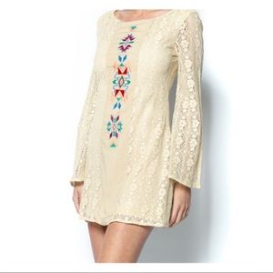 Flying Tomato Boho Tribal Ivory Lace Dress Size M